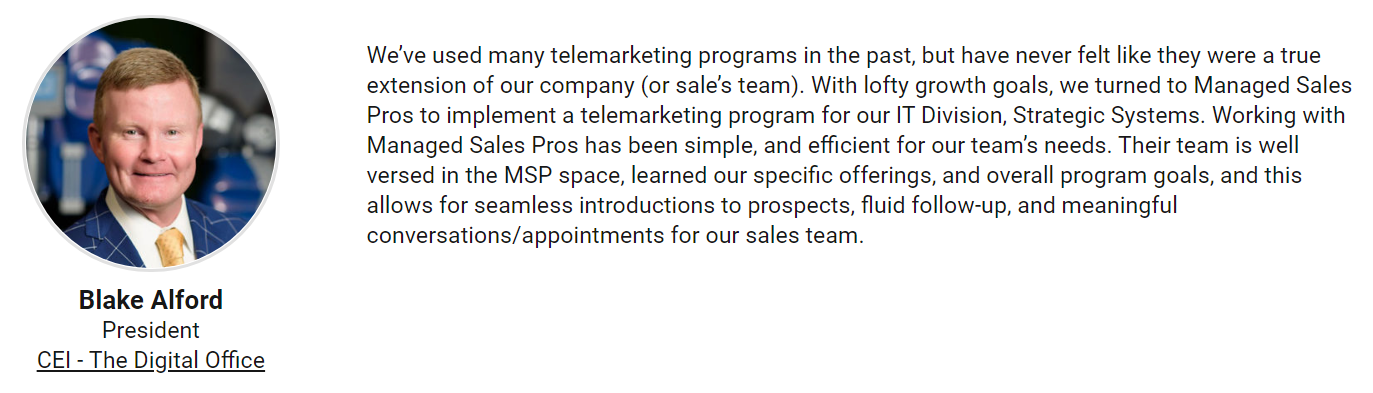 MSP Cold Calling Testimonials